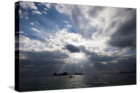 Andaman Sea: A Kayaker in the Andaman Sea under Rays of Light-Ben Horton-Stretched Canvas Print