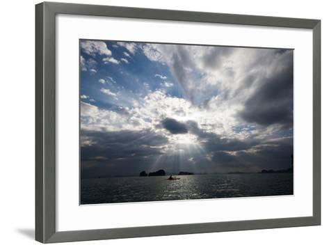 Andaman Sea: A Kayaker in the Andaman Sea under Rays of Light-Ben Horton-Framed Art Print