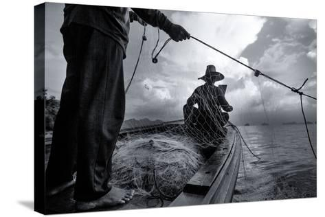 Andaman Sea: Fishermen Haul in their Net in the Andaman Sea-Ben Horton-Stretched Canvas Print