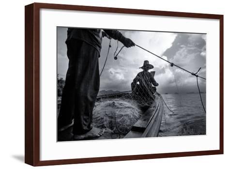 Andaman Sea: Fishermen Haul in their Net in the Andaman Sea-Ben Horton-Framed Art Print