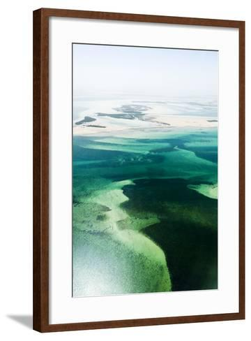 Turquoise Tidal Flats and Coastal Sea Channels Surrounded by Arid Desert Sands-Jason Edwards-Framed Art Print