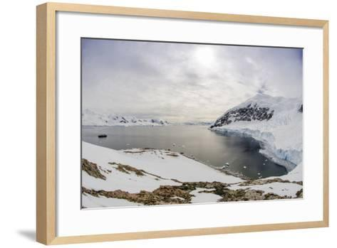 Wide Angle of a Ship and Glacier at Neko Harbor on the Antarctic Peninsula-Rich Reid-Framed Art Print