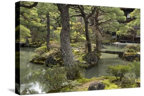 A Japanese Garden with Pond and the Silver Pavilion in the Background, at Ginkaku-Ji-Macduff Everton-Stretched Canvas Print