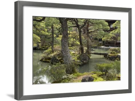 A Japanese Garden with Pond and the Silver Pavilion in the Background, at Ginkaku-Ji-Macduff Everton-Framed Art Print