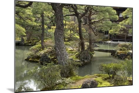 A Japanese Garden with Pond and the Silver Pavilion in the Background, at Ginkaku-Ji-Macduff Everton-Mounted Photographic Print