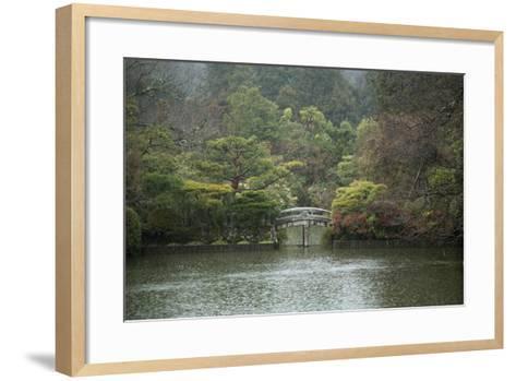 A Traditional Wooden Footbridge in a Rainstorm at Ryoanji Temple-Macduff Everton-Framed Art Print