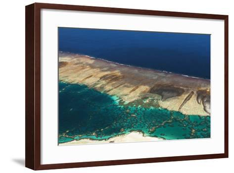 Aerial View of the Fringing Reef and the Inside Lagoon of Millennium Atoll-Mauricio Handler-Framed Art Print