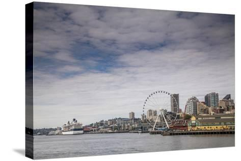 The Seattle Skyline on a Sunny Day-Michael Hanson-Stretched Canvas Print