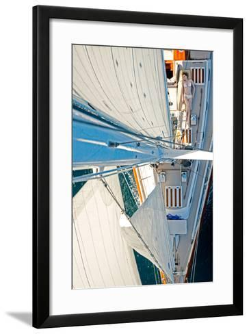 Sea of Cortez, Mexico: A Girl Sunbathes on a Sailboat as Seen from the Tip of the Mast-Ben Horton-Framed Art Print