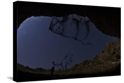 A Man Standing in the Entrance of Roodafshan Cave, with Ursa Major and Minor in the Sky Behind-Babak Tafreshi-Stretched Canvas Print