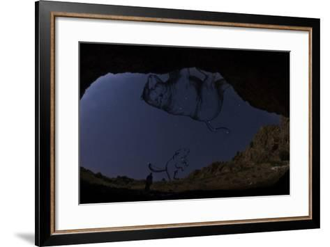 A Man Standing in the Entrance of Roodafshan Cave, with Ursa Major and Minor in the Sky Behind-Babak Tafreshi-Framed Art Print
