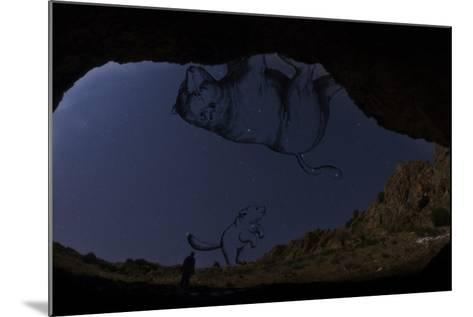 A Man Standing in the Entrance of Roodafshan Cave, with Ursa Major and Minor in the Sky Behind-Babak Tafreshi-Mounted Photographic Print