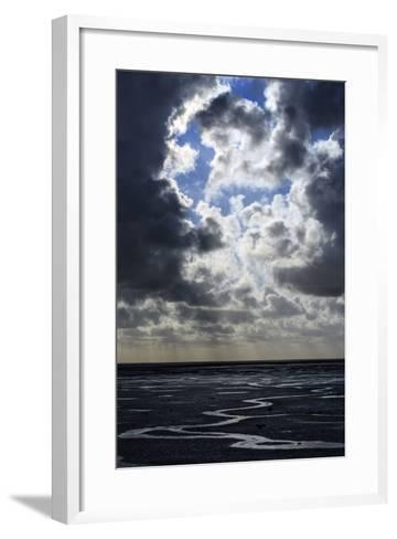 The Ocean Floor at Low Tide in Mont Saint Michel Bay. Heavy Clouds Above and Virga in the Distance-Babak Tafreshi-Framed Art Print