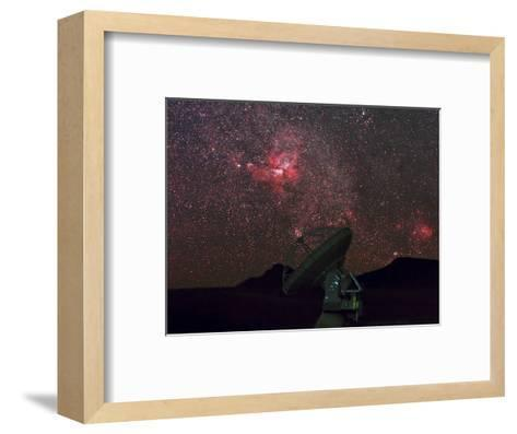 An Alma Telescope Photographed with a Special Deep Sky Filter to Reveal the Nebulosity in the Sky-Babak Tafreshi-Framed Art Print