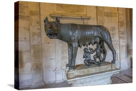A Statue of Romulus and Remus with the She Wolf at the Capitoline Museum-Will Van Overbeek-Stretched Canvas Print