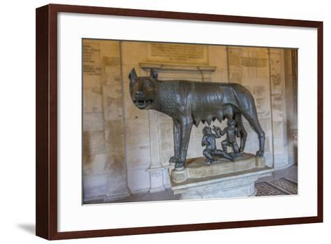 A Statue of Romulus and Remus with the She Wolf at the Capitoline Museum-Will Van Overbeek-Framed Art Print