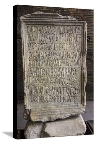 Close Up of an Ancient Inscription at the Colosseum-Will Van Overbeek-Stretched Canvas Print