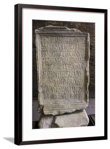 Close Up of an Ancient Inscription at the Colosseum-Will Van Overbeek-Framed Art Print