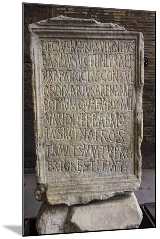 Close Up of an Ancient Inscription at the Colosseum-Will Van Overbeek-Mounted Photographic Print