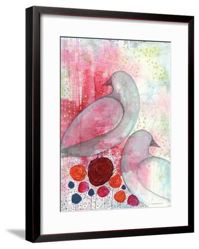 Two Birds in Fuschia-Sarah Ogren-Framed Art Print