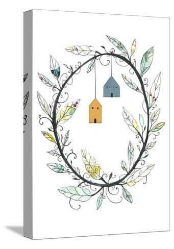 Bird Houses and Wreath-Sarah Ogren-Stretched Canvas Print