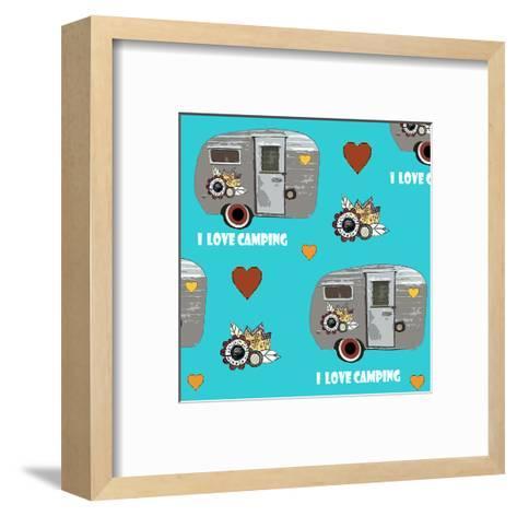 I Love Camping Pattern-Sarah Ogren-Framed Art Print