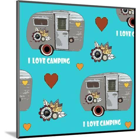 I Love Camping Pattern-Sarah Ogren-Mounted Art Print