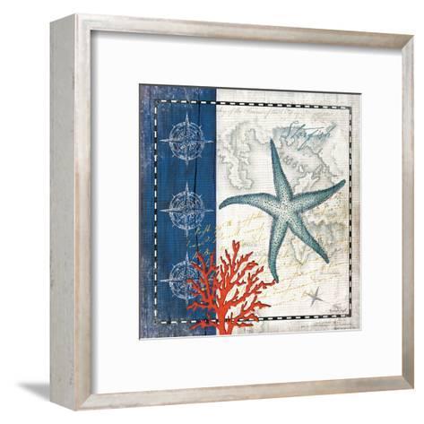 Coastal Blue Starfish-Jennifer Pugh-Framed Art Print