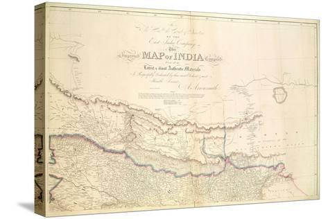 Map of India, 1822-Aaron Arrowsmith-Stretched Canvas Print