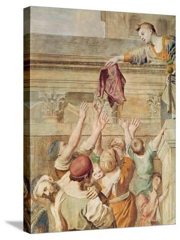 Detail of St. Cecilia Distributing Alms, C.1612-15-Domenichino-Stretched Canvas Print