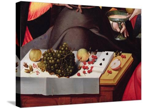 Scene Galante at the Gates of Paris, Detail of Fruits, Playing Cards and a Goblet--Stretched Canvas Print