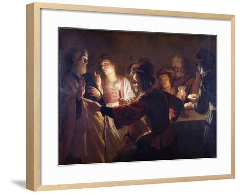 The Denial of St. Peter, C.1620-Gerrit van Honthorst-Framed Art Print