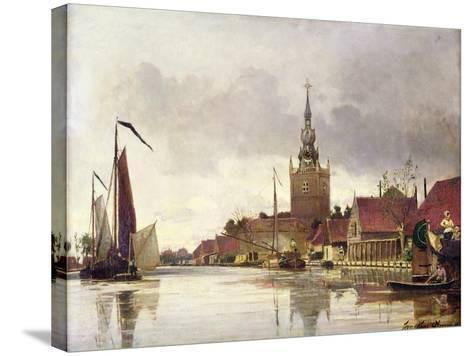 View of Overschie Near Rotterdam, 1856-Johan-Barthold Jongkind-Stretched Canvas Print