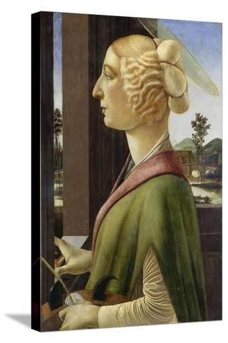 Portrait of a Young Woman with Attributes of St. Catherine, 1475-78-Sandro Botticelli-Stretched Canvas Print