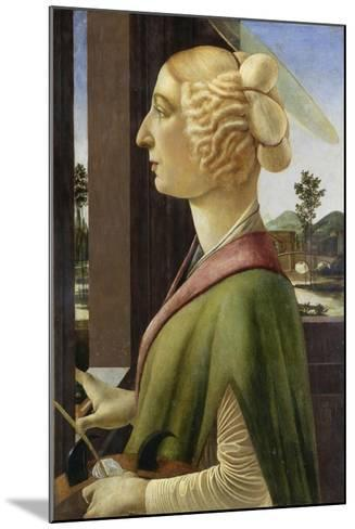 Portrait of a Young Woman with Attributes of St. Catherine, 1475-78-Sandro Botticelli-Mounted Giclee Print