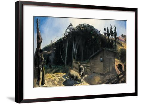 Three Pigs and a Mountain, C.1922-George Wesley Bellows-Framed Art Print