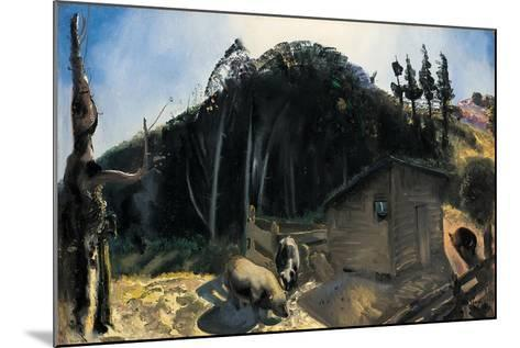 Three Pigs and a Mountain, C.1922-George Wesley Bellows-Mounted Giclee Print