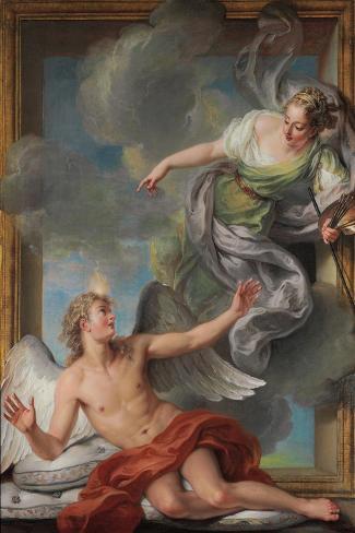 Painting Awakening Sleeping Genius-Charles Antoine Coypel-Stretched Canvas Print