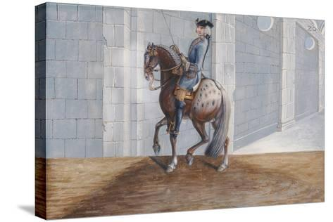 No. 20 a Dapple Grey Horse of the Spanish Riding School Performing the 'Volte' Dressage Step-Baron Reis d' Eisenberg-Stretched Canvas Print