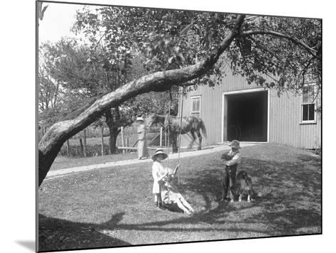 Children of the Mccready Family with a Dog and Puppy Gathered around a Rope Swing Outside a Barn-William Davis Hassler-Mounted Photographic Print