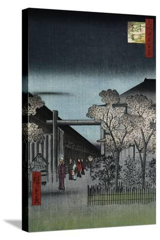 Dawn in the Yoshiwara', from the Series 'One Hundred Views of Famous Places in Edo'-Utagawa Hiroshige-Stretched Canvas Print