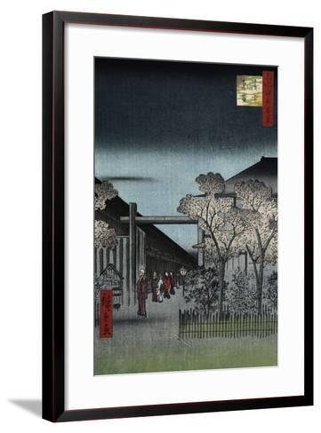 Dawn in the Yoshiwara', from the Series 'One Hundred Views of Famous Places in Edo'-Utagawa Hiroshige-Framed Art Print