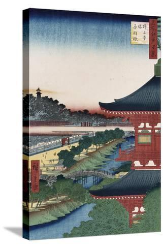 Pagoda of Zojoji, Akabane', from the Series 'One Hundred Views of Famous Places in Edo'-Utagawa Hiroshige-Stretched Canvas Print
