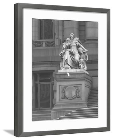 America' Statue Outside the Custom House, New York City, C.1912-William Davis Hassler-Framed Art Print