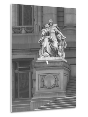 America' Statue Outside the Custom House, New York City, C.1912-William Davis Hassler-Metal Print