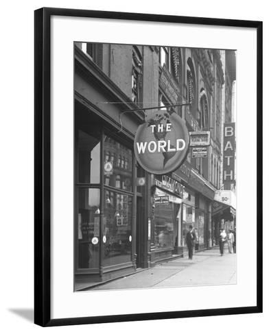 Sign for 'The World,' at 155 W. 125th Street, New York City, June 15, 1916-William Davis Hassler-Framed Art Print