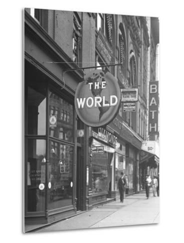Sign for 'The World,' at 155 W. 125th Street, New York City, June 15, 1916-William Davis Hassler-Metal Print