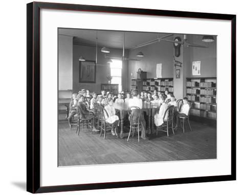 Children Listen to a Woman in the Reading Room-William Davis Hassler-Framed Art Print