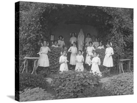 Graduating Class of Girls from the Roman Catholic Orphan Asylum Posed before the Grotto-William Davis Hassler-Stretched Canvas Print