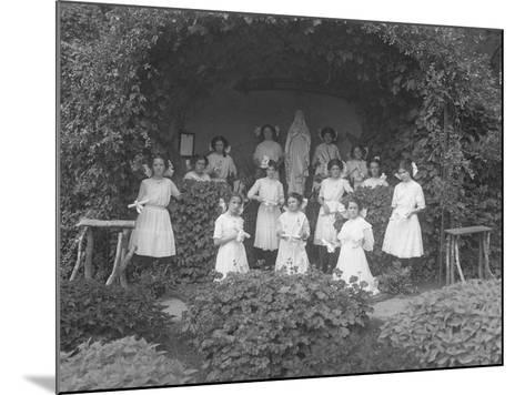 Graduating Class of Girls from the Roman Catholic Orphan Asylum Posed before the Grotto-William Davis Hassler-Mounted Photographic Print